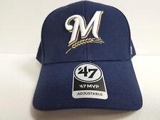 Milwaulkee Brewers 47 Brand Cap Hook & Loop Adjustable Navy Basic MVP Hat MLB