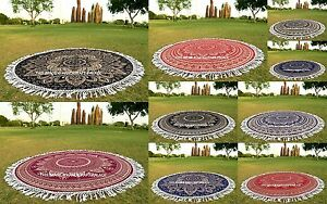 Gold Ombre Indian Round Mandala Beach Throw Hippie Tapestry Yoga Mat Tapestry