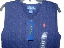 Polo Ralph Lauren Blue Solid Blue Sleeveless Sweater Vest Cotton Boys 2T NWT