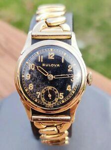 BULOVA 1942 Nighthawk Military Watch 15-jewel Cal. 10BE Swiss Made Wristwatch
