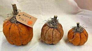 Pumpkins/Fall/Halloween/Bowl Fillers/Set of 3/Farmhouse/Grunged