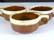Set 3 Vtg Monmouth Western Stoneware Maple Leaf Brown Drip Stew Chili Soup Mugs