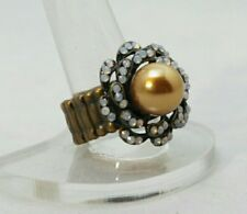"""Gold Pearl Cocktail Ring White Crystal  Faux Antique Finish 1"""" Stretch Band Gift"""