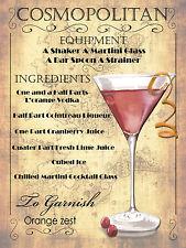 Cocktail Cosmopolitan, Retro Metallo Placca, pub bar cucina shabby chic regalo