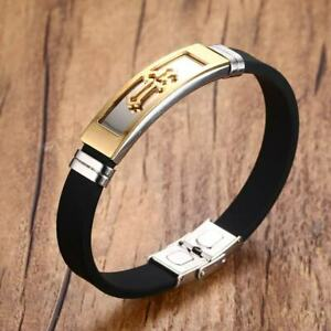 Gold Cross Men's Bracelet Silicone Bangle Cuff Christ Prayer Religious Jewelry
