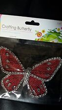 Diamonte edged red hessian crafting butterfly 13cm x 9cm