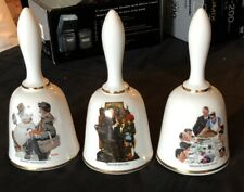 Set Of 3 Limited-Edition Norman Rockwell Collectible Bells By Danbury Mint