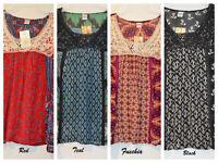 Women's Bila Peasant Woven Boho 3/4 Sleeve Top Asst.Colors Size L, XL, XXL