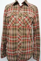 AE American Eagle Vintage Fit brown pearl snap western shirt sz XS mens L/S#922