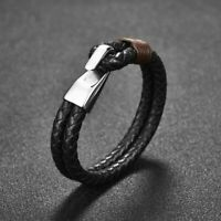 Men's Black Genuine Leather Bracelet Jewelry Stainless Steel Hook Bangle