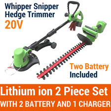 20V Lithium Cordless Whipper Snipper+Hedge Trimmer 2 Piece Garden Tool 2 Battery
