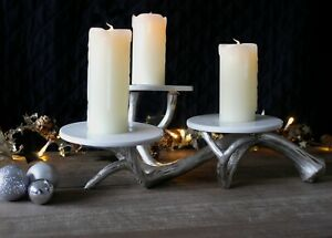 Silver 3 Tier Antler Server Table Centrepiece Unique Stand Rustic Cake Stand