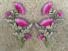 #5094PK Thistle - Carnation Spray - Pink Flower Embroidery Appliqué Patch /Pair