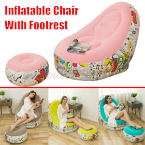 Inflatable Air Chair Seat Couch Lazy Sofa Lounge Blow Up Ottoman Home