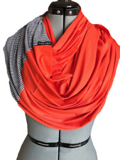 Handmade Infinity SCARF/Shawl/Loop Block Red/Scarlet Red with Black/White Strips