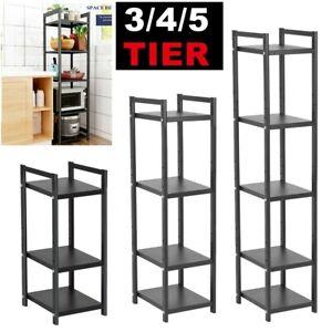 5 Tier Metal Storage Rack Floor Shelf Unit Kitchen Oven Living Room Shelf Black