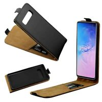 Black Vertical Flip PU Leather Case Phone Cover w/Card Holder For Samsung iPhone