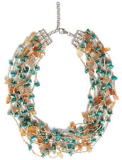 Fashion Multi Layer Natural Carnelian & Turquoise Chain Necklace