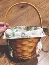 Year 2000 6.5 Inch Round Longaberger Basket Lined With Handle Signed