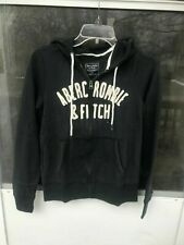 Abercrombie & Fitch Full Zip BLACK Logo Hoodie Women's SIZE S