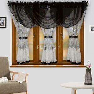 Fertiggardine Vorhang Voile Panel Schwarz Weiß Wohnzimmer Gardine 500cm x 150cm