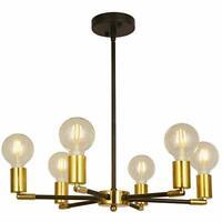BAODEN 6 Lights Fixture Modern Black & Brass Sputnik Chandelier Mid Century
