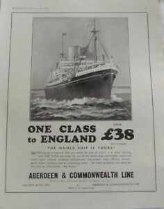 Vintage 1936 Australian Print Ad, Aberdeen & Commonwealth Line to England