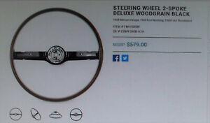 68 MUSTANG Steering Wheel 2-Spoke Deluxe Woodgrain Black, Cougar, Thunderbird