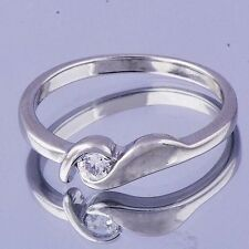 Womens Wedding Crystal Pinky Ring Silver Jewelry 14K White Gold Plated Size 6