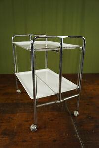 60er Dinett Serving Trolley Tea Trolley Table Side Table BAR White Chrome 70er