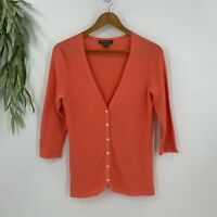 Tommy Bahama Womens Cardigan Sweater Coral Orange SIze M Cotton Knit 3/4 Sleeve