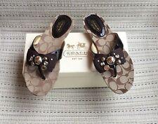 Coach Sylvia Signature Jeweled Sandals Brown 7.5M