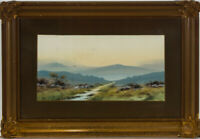 J. Monti - Mid 20th Century Gouache, Highland Landscape Scene