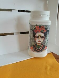 Old White Painted Glass Coffee Jar, Frida Kahlo, Perfect For Flowers/Storage