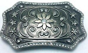 Vtg Silver Tone & Rhinestone Western Star & Flower Belt Buckle