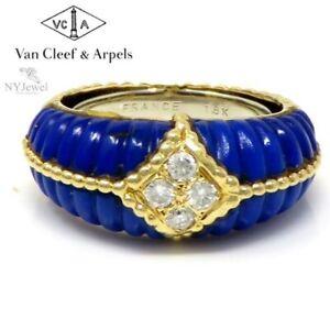 NYJEWEL Van Cleef & Arpels VCA 18K Yellow Gold Diamond Lapis Lazuli Ring