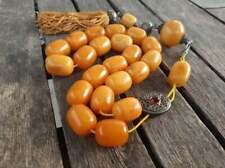 Antique Natural Baltic Amber Butterscotch Misbaha Huge Tesbih Prayer Beads 114gr