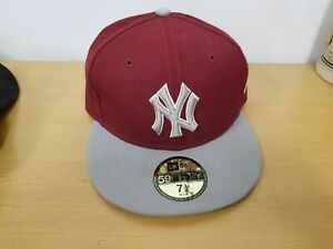 """NY New York"" 59Fifty Grey & Burgundy Ball Cap - Ships Same Day"