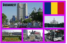BUCHAREST, ROMANIA - SOUVENIR NOVELTY FRIDGE MAGNET / SIGHTS / FLAGS / GIFTS