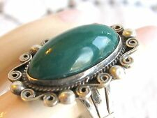 ANTIQUE / VINTAGE MEXICAN MEXICO STERLING SILVER GREEN ONYX RING FILIGREE FRAME