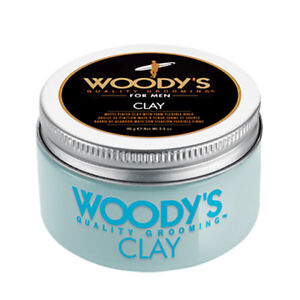 Woody's Hair Styling Clay for Men 3.4 oz Matte Finish Firm Flexible Hold Pomade