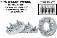 """4 PC 1"""" THICK CONVERSION WHEEL SPACERS 5x100 MM TO 5x4.25"""" FOR AUDI & VOLKSWAGEN"""