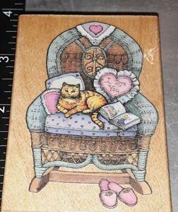 Cozy cat,grandma's chair all night media, B161,rubber, wood