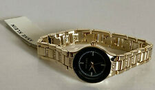 NEW! ANNE KLEIN BLACK DIAL SWAROVSKI CRYSTALS GOLD BRACELET STRAP WATCH $85 SALE