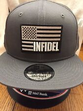 New Era NE400 Grey Snapback Flat Bill Cap w/ Black/White INFIDEL American Flag