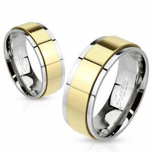 Herren Damen Ring Partnerring aus Edelstahl Silber Außenring Gold IP beweglich