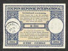 IRC INTERNATIONAL REPLY COUPON STOCKHOLM SWEDEN 40 ORE 1948