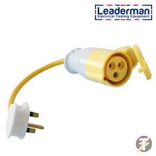 Uk Pat Testing Adaptor Yellow 3 Pin 110v (16amp) Socket to 230V 13amp Plug
