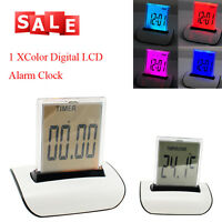 Digital LCD Snooze Alarm Clock w/ 7 LED light Light Control Thermometer Calendar
