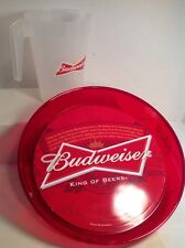 Budweiser  Beer plastic 46 ounce pitcher  And Tray Bar Man Cave